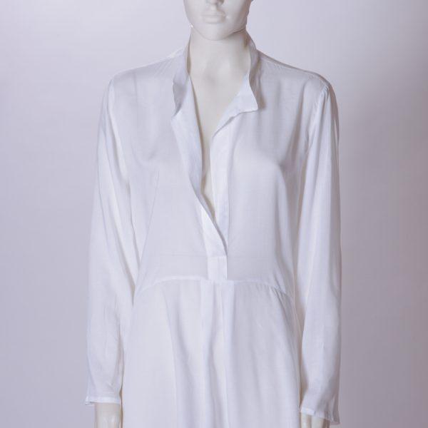 Camicia donna lunga ,collo coreana e soffietto schiena