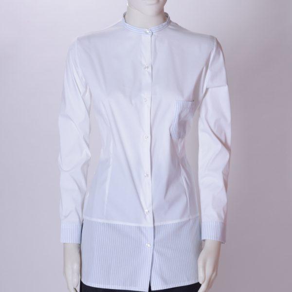 camicia donna lunga con taschino e inserti